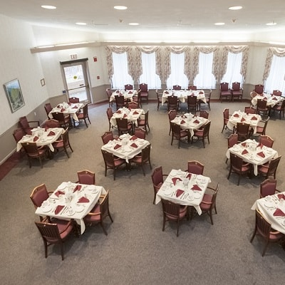 Large dining area at Pinehurst Senior Living Community