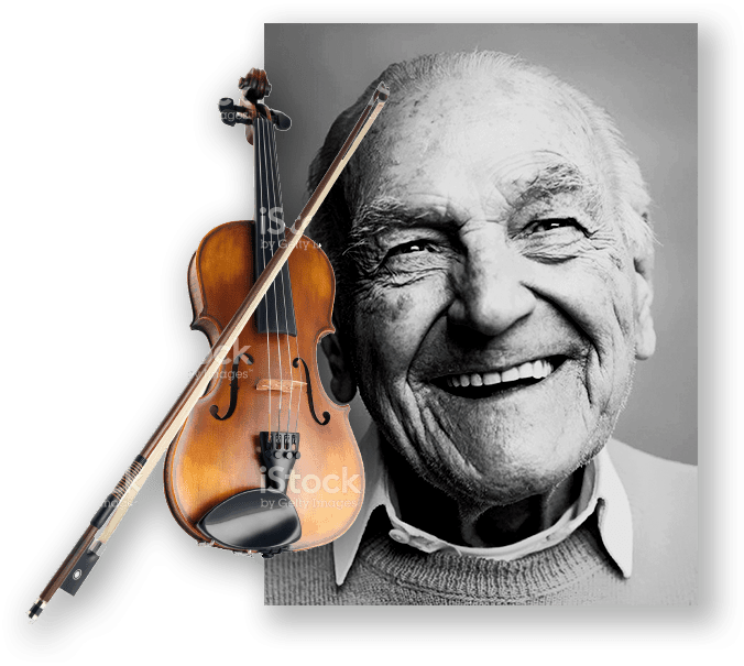 A smiling man and a violin.