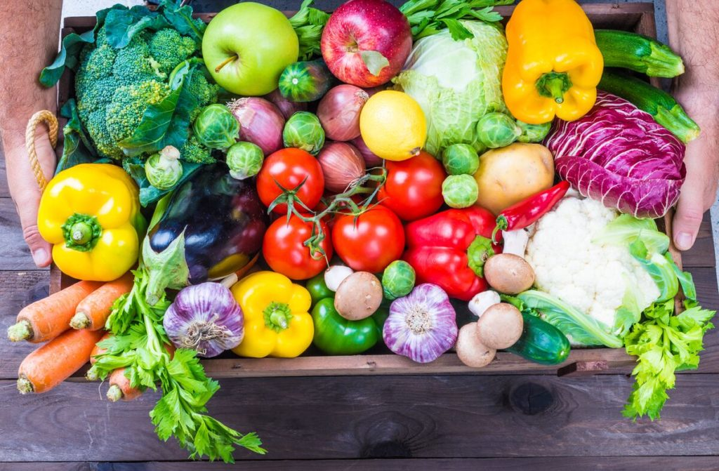 A basket full of delicious vegetables